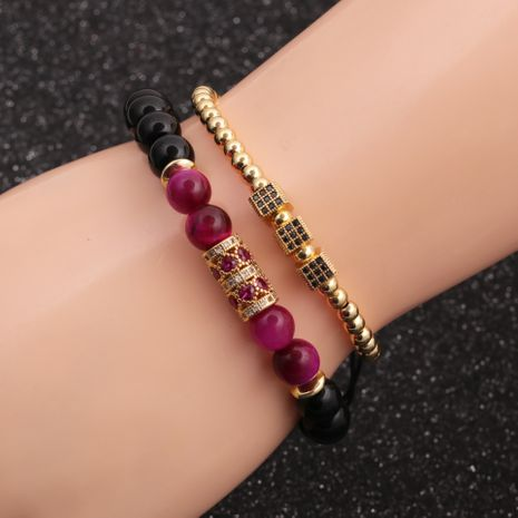 Fashion new 8mm tiger's eye bright stone love micro-inlaid zircon cube copper bracelet set  NHYL259168's discount tags