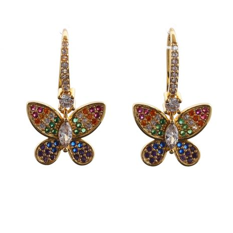 Hot selling fashion micro-inlaid zircon butterfly turtle snake animal earrings  NHYL259171's discount tags