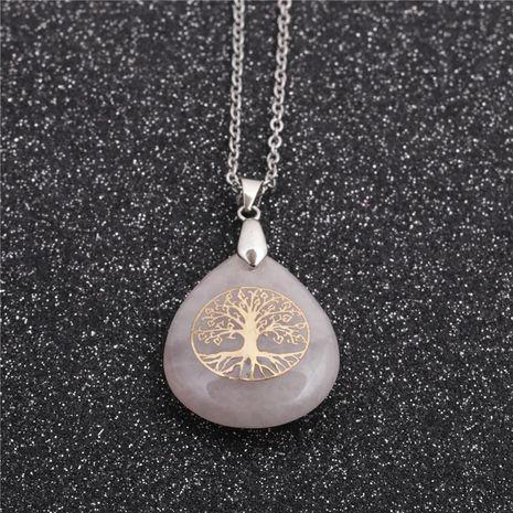 Collier pendentif goutte arbre de vie en acier inoxydable de style ethnique pour femmes NHYL259173's discount tags