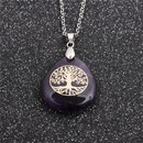 Fashion ethnic style geometric ladies stainless steel tree of life drop pendant necklace NHYL259173
