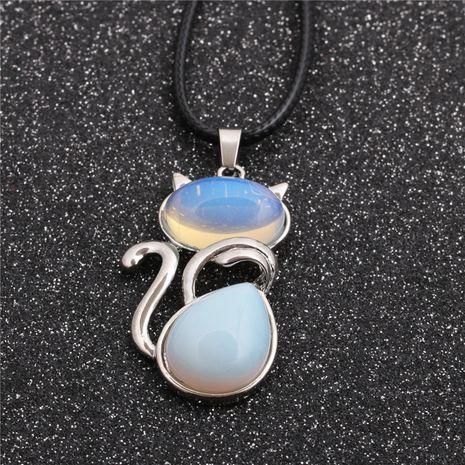 Pendentif de style ethnique géométrique bleu corde de cire coréenne pour hommes et femmes collier pendentif aigue-marine NHYL259187's discount tags