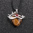 Fashion new geometric ethnic style ladies wax rope tiger eye pendant necklace  NHYL259188