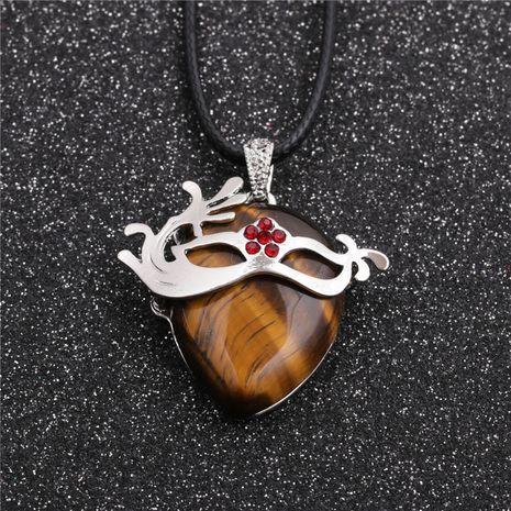 Mode nouveau style ethnique géométrique dames corde de cire collier pendentif oeil de tigre NHYL259188's discount tags