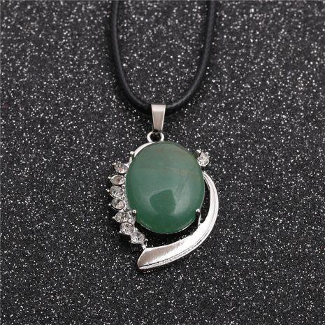 Tendance nouvelle vente chaude Style ethnique dames corde de cire vert Aventurine pendentif collier NHYL259189's discount tags
