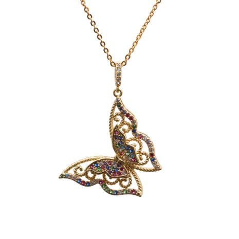 Fashion new Micro Inlaid Zircon Butterfly Pendant Body Chain copper Necklace NHYL259193's discount tags