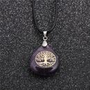 Trendy new geometric type purple ladies Korea wax rope amethyst pendant necklace NHYL259199