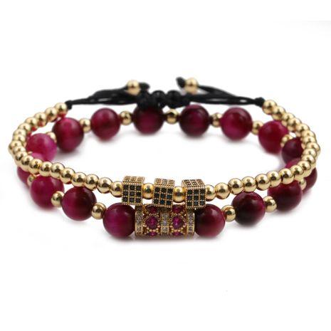 Fashion 8mm tiger's eye love micro-inlaid zircon cube bracelet set  NHYL259212's discount tags