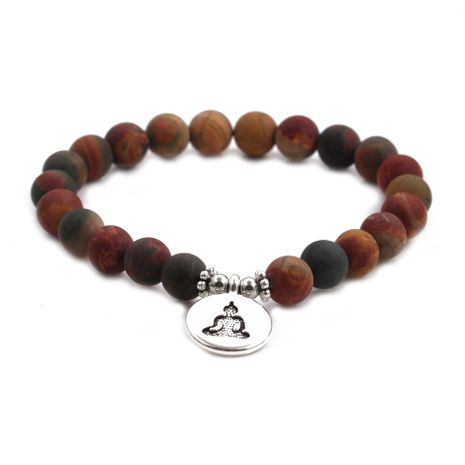 Hot-Selling fashion new 8mm Pine Lime Agate Buddha Head Bracelet for women NHYL259213's discount tags