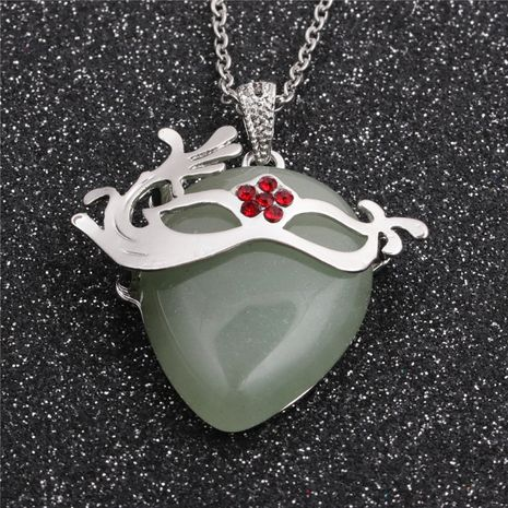 Collier pendentif Aventurine verte avec chaîne en acier inoxydable de style ethnique NHYL259219's discount tags
