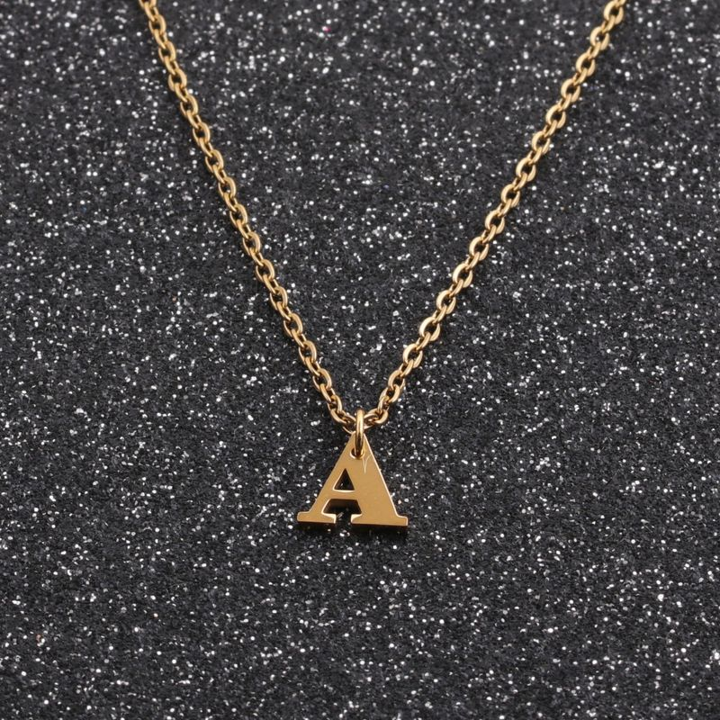 Hotsaling fashion New Geometric Simple Stainless Steel Letter Necklace NHYL259220