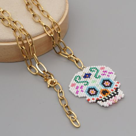 New exaggerated rice beads woven Halloween skull all-match O-shaped stainless steel necklace NHGW259222's discount tags