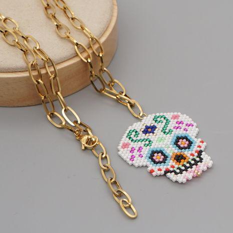 Nouveau collier en acier inoxydable en forme de O avec crâne d'Halloween tissé de nouvelles perles de riz exagérées NHGW259222's discount tags