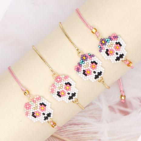 fashion ethnic style rice bead woven Halloween skull bracelet for women NHGW259223's discount tags