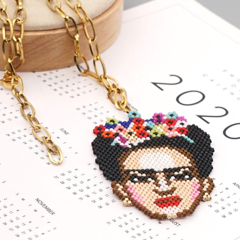 creative wild Ochain stainless steel rice beads handwoven necklace NHGW259225