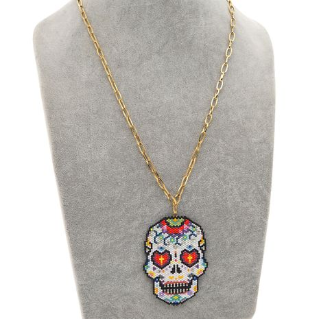 creative exaggerated fashion punk style skull Halloween O-chain stainless steel necklace NHGW259226's discount tags