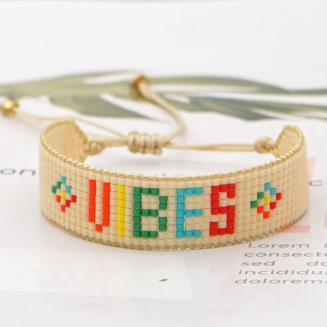 fashion creative new rice beads hand-woven smiling face wild color LOVE letter bracelet for women NHGW259227's discount tags