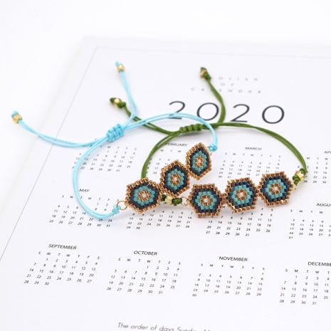 hot sale fashion simple wild geometric ethnic style rice bead braided bracelet  NHGW259231's discount tags