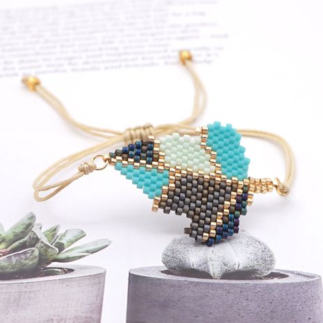 new fashion creative beaded handmade jewelry rice beads woven leaf bracelet for women NHGW259233's discount tags