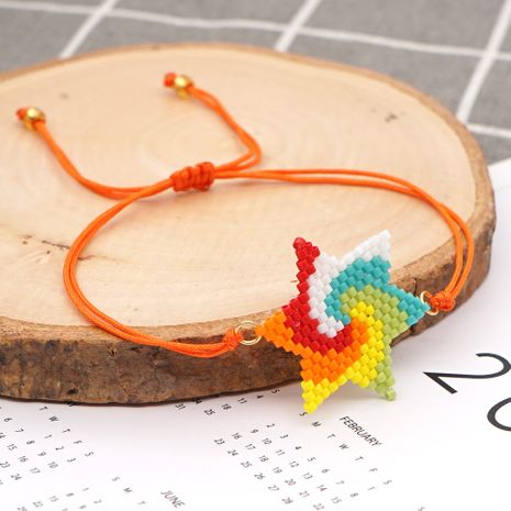fashion creative new rice beads hand-woven rainbow five-pointed star beaded bracelet NHGW259236's discount tags