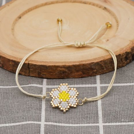 Bohemian style fashion creative rice beads hand-woven small daisy bracelet  NHGW259237's discount tags