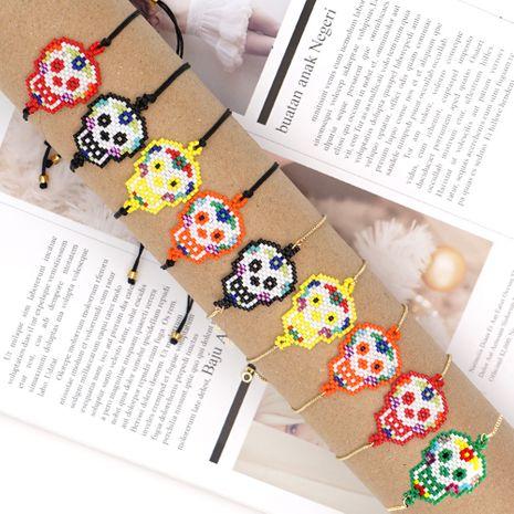 Bracelet simple tissé à la main en perles de riz Halloween crâne sombre gothique NHGW259241's discount tags