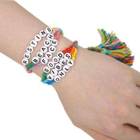 retro ethnic Bohemia style wild color braided rope alphabet bracelet NHGW259242's discount tags