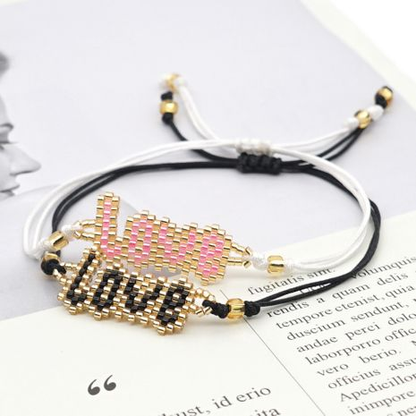 handmade DIY fashion rice beads woven LOVE letter bracelet for women NHGW259243's discount tags