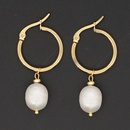 Hot selling fashion gorgeous natural freshwater pearl temperament large hoop earrings NHGW259246