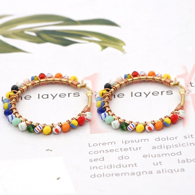 Hot selling personality exaggerated rice bead earrings  NHGW259247