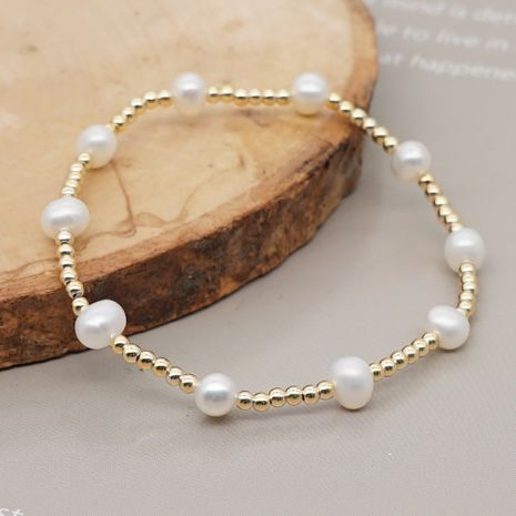 fashion new baroque style natural freshwater pearl imported color preservation gold bead bracelet for women NHGW259249's discount tags