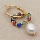 Hot selling colored gorgeous natural freshwater pearl hoop earrings NHGW259250