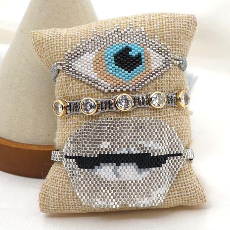 Fashion silver lips exotic jewelry rice bead braided diamond bracelet NHGW259253's discount tags