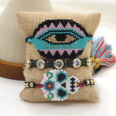 ethnic style diamond-studded skull  rice beads woven Turkish blue eye bracelet NHGW259256's discount tags