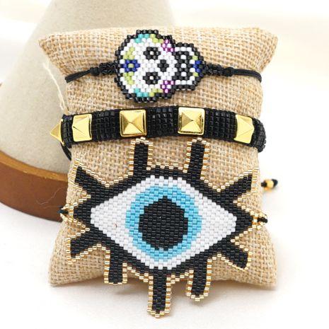 Turkey Blue Eyes Skull Punk Rivet Couple Jewelry Rice Bead Braided Bracelet NHGW259257's discount tags