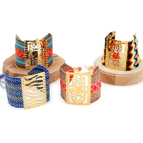 fashion new rice beads weaving palm ethnic style bracelet  NHGW259258's discount tags
