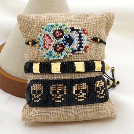 Fashion new rivet punk skull jewelry rice bead braided bracelet NHGW259260's discount tags