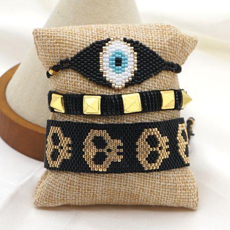 Fashion new rivet punk metal rock tide skull Halloween  rice bead braided bracelet NHGW259261's discount tags