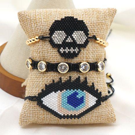 punk style diamond hip hop skull Halloween jewelry rice bead woven bracelet NHGW259265's discount tags