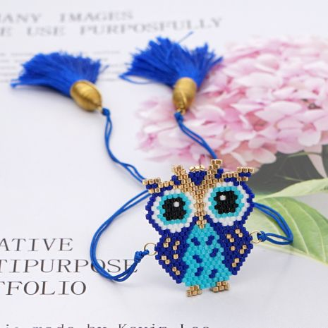 Fashion rice beads woven owl animal series Bohemian style bracelet  NHGW259267's discount tags