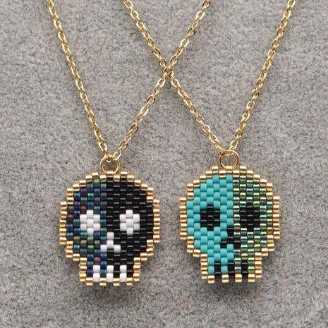 Collier de perles de riz Miyuki tissé à la main en perles de crâne d'Halloween en acier inoxydable NHGW259271's discount tags