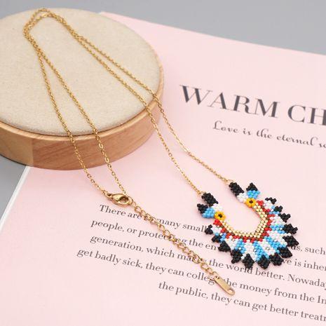 collier de chapeau de chef indien tissé de perles de riz sauvage de style ethnique NHGW259279's discount tags