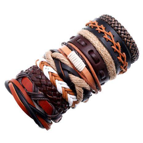 new fashion new vintage woven cowhide multiple bracelet wholesale  NHPK259293's discount tags