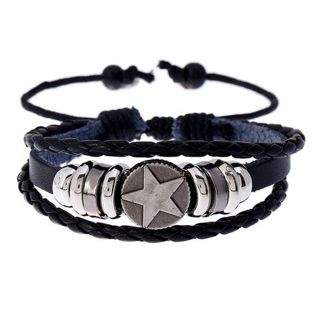 Fashion alloy five-pointed star beaded cowhide adjustable bracelet  NHPK259294's discount tags