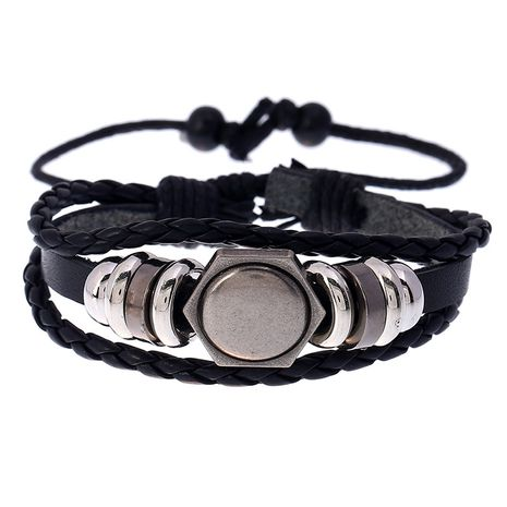 New cute  creative hand-woven leather niche adjustable  bracelet NHPK259295's discount tags