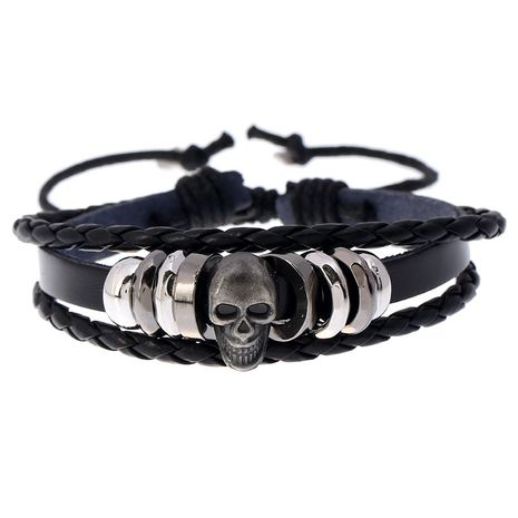 wholesale fashion new beaded skull men's leather hot-selling bracelet  NHPK259296's discount tags