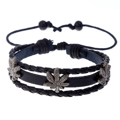 Hot-selling woven simple beaded maple leaf men's cowhide bracelet wholesale  NHPK259300's discount tags