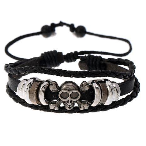 hot sale hip hop skull beaded cowhide men's fashion woven trendy bracelet wholesale NHPK259301's discount tags