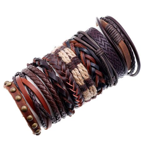 Punk style retro multi-layer leather 10 piece set braided bracelet hand rope NHPK259304's discount tags