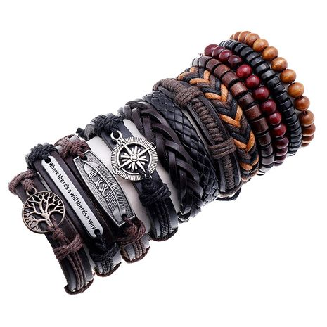 Vintage cowhide creative gift woven men's hip-hop bracelet combination set NHPK259305's discount tags