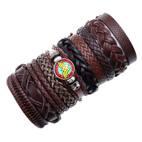 new fashion hand-woven retro cowhide combination 10-piece leather bracelet NHPK259306's discount tags